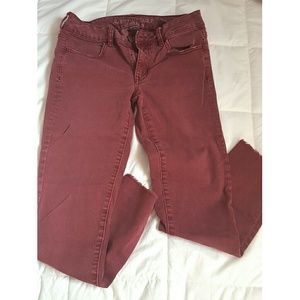 AE Maroon Cropped Jeggings
